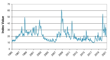 VIX Index value from 1995 to 2021