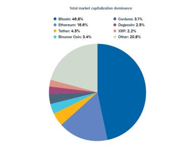 Bitcoin's market capitalization equals that of nearly all other top cryptocurrencies combined.