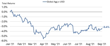 The total return for the Bloomberg Barclays Global Aggregate ex-USD Bond Index was negative 3.9% as of August 27, 2021.