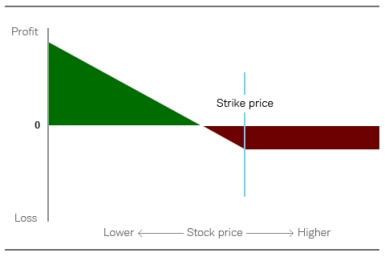 Chart depicts that while the maximum potential loss on a long put trade is the price paid for the option, the profit potential as the stock drops in price is significant.