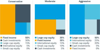 A conservative portfolio is 50% fixed income, 30% cash, 15% large cap, and 5% international. A moderate one has 35% in both fixed income and large cap, 15% international, 10% small cap, and 5% cash. An aggressive approach is 50% large cap, 25% international, 20% small cap, and 5% cash.