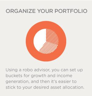Using a robo advisor, you can set up buckets for growth and income generation, and then it's easier to stick to your desired asset allocation.